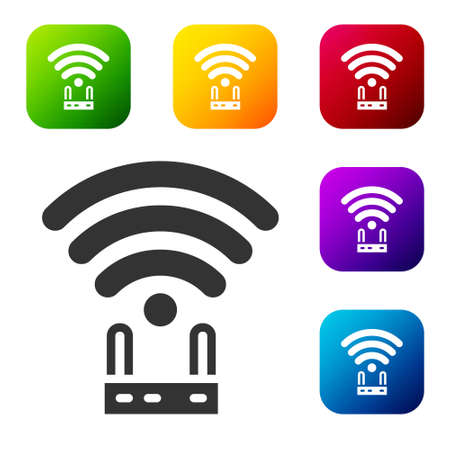 Black Router and wi fi signal icon isolated on white background. Wireless  modem router. Computer technology internet. Set icons in color square buttons. Vector