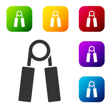 Black Sport expander icon isolated on white background. Sport equipment. Set icons in color square buttons. Vector 向量圖像