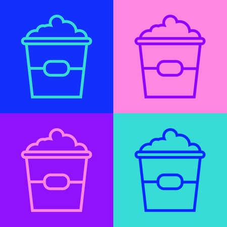 Pop art line Popcorn in cardboard box icon isolated on color background. Popcorn bucket box. Vector Illustration