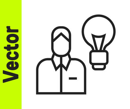 Black line Human with lamp bulb icon isolated on white background. Concept of idea. Vector Stock Illustratie
