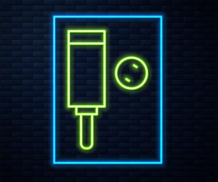 Glowing neon line Wood cricket bat and ball icon isolated on brick wall background. Vector