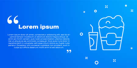 White line Popcorn in cardboard box and paper glass with drinking straw and water icon isolated on blue background. Soda drink glass. Vector
