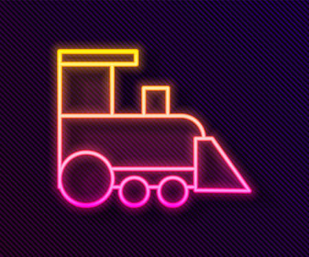 Glowing neon line Toy train icon isolated on black background. Vector