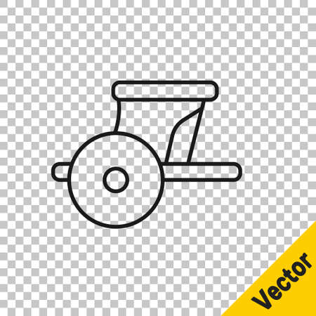 Black line Ancient Greece chariot icon isolated on transparent background. Vector