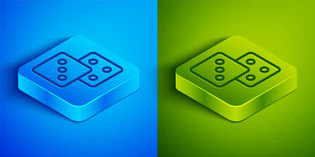 Isometric line Game dice icon isolated on blue and green background. Casino gambling. Square button. Vector