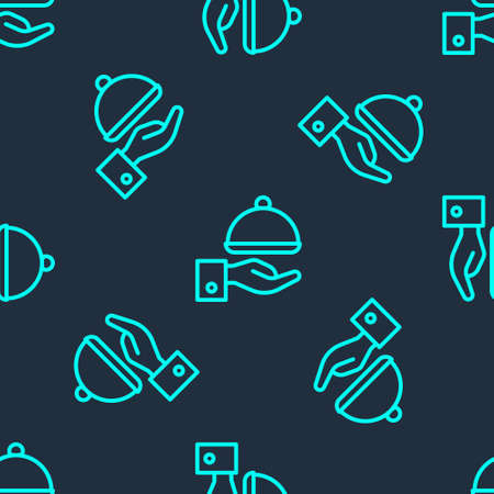 Green line Covered with a tray of food icon isolated seamless pattern on blue background. Tray and lid sign. Restaurant cloche with lid. Vector