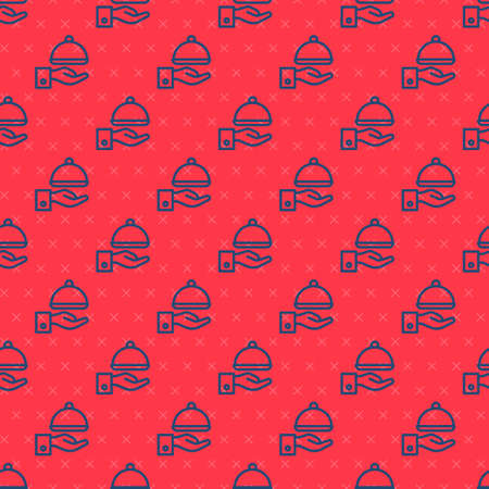 Blue line Covered with a tray of food icon isolated seamless pattern on red background. Tray and lid sign. Restaurant cloche with lid. Vector