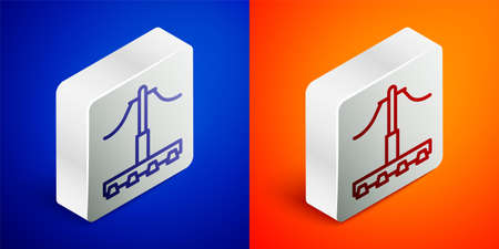 Isometric line Railway icon isolated on blue and orange background. Railroad overhead lines. Contact wire. Silver square button. Vector 向量圖像