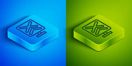 Isometric line Railroad crossing icon isolated on blue and green background. Railway sign. Square button. Vector