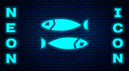 Glowing neon Dried fish icon isolated on brick wall background. Vector Illustration Ilustração