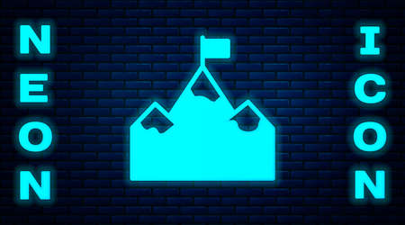 Glowing neon Mountains with flag on top icon isolated on brick wall background. Symbol of victory or success concept. Goal achievement. Vector