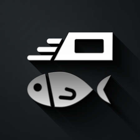 Silver Fish and chips icon isolated on black background. Long shadow style. Vector 矢量图像