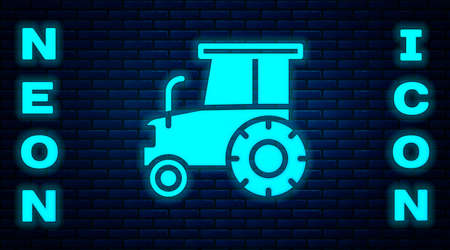 Glowing neon Tractor icon isolated on brick wall background. Vector Ilustração