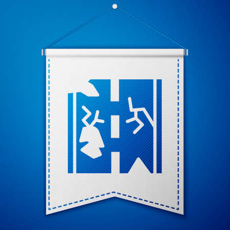 Blue Broken road icon isolated on blue background. White pennant template. Vector
