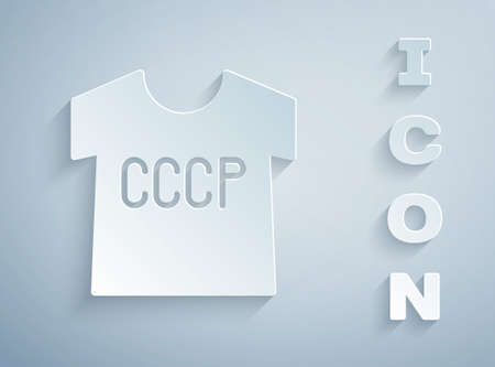 Paper cut USSR t-shirt icon isolated on grey background. Paper art style. Vector