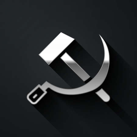 Silver Hammer and sickle USSR icon isolated on black background. Symbol Soviet Union. Long shadow style. Vector 向量圖像