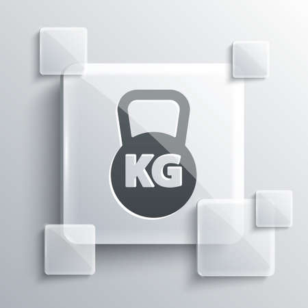 Grey Kettlebell icon isolated on grey background. Sport equipment. Square glass panels. Vector Иллюстрация