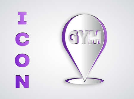 Paper cut Location gym icon isolated on grey background. Paper art style. Vector Иллюстрация