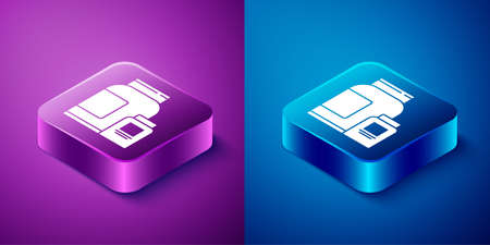 Isometric Sports nutrition bodybuilding proteine power drink and food icon isolated on blue and purple background. Square button. Vector Иллюстрация