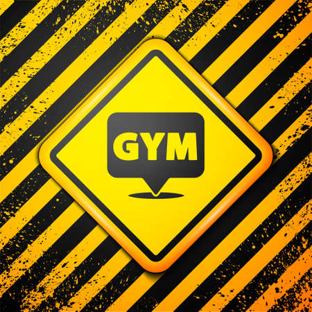 Black Location gym icon isolated on yellow background. Warning sign. Vector