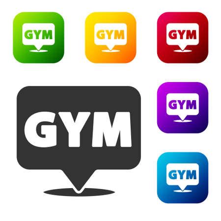 Black Location gym icon isolated on white background. Set icons in color square buttons. Vector