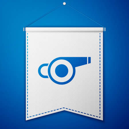 Blue Whistle icon isolated on blue background. Referee symbol. Fitness and sport sign. White pennant template. Vector