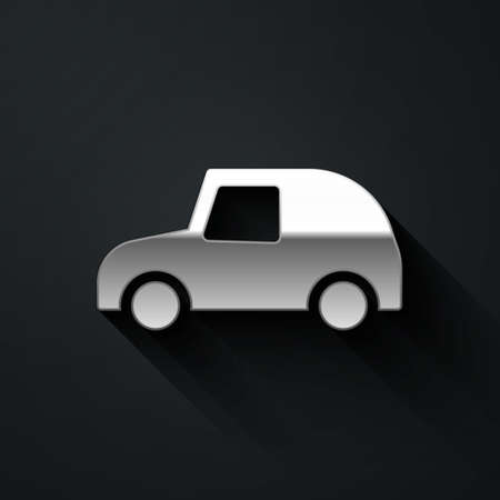 Silver Toy car icon isolated on black background. Long shadow style. Vector