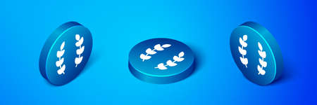 Isometric Laurel wreath icon isolated on blue background. Triumph symbol. Blue circle button. Vector