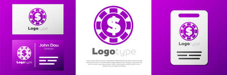 Logotype Casino chip with dollar symbol icon isolated on white background. Casino gambling. Logo design template element. Vector