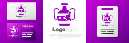 Logotype Broken ancient amphorae icon isolated on white background. Logo design template element. Vector
