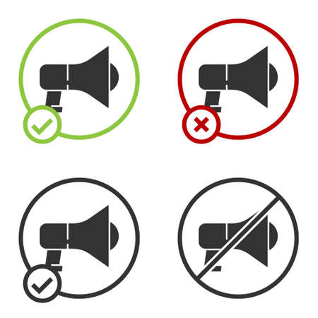 Black Megaphone icon isolated on white background. Speaker sign. Circle button. Vector Çizim