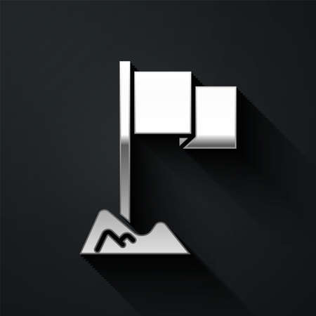 Silver Flag icon isolated on black background. Location marker symbol. Long shadow style. Vector