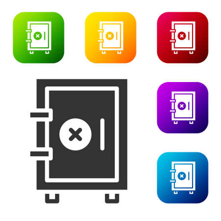 Black Safe icon isolated on white background. The door safe a bank vault with a combination lock. Reliable Data Protection. Set icons in color square buttons. Vector 写真素材 - 159554025