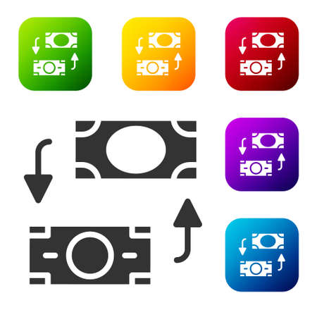Black Money exchange icon isolated on white background. Cash transfer symbol. Banking currency sign. Set icons in color square buttons. Vector 写真素材 - 159554026