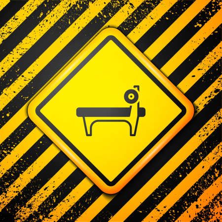 Black Bench with barbel icon isolated on yellow background. Gym equipment. Bodybuilding, powerlifting, fitness concept. Warning sign. Vector 写真素材 - 159554027