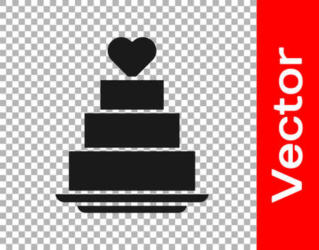 Black Wedding cake with heart icon isolated on transparent background. Vector 写真素材 - 159554034