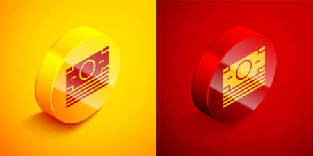 Isometric Stacks paper money cash icon isolated on orange and red background. Money banknotes stacks. Bill currency. Circle button. Vector 写真素材 - 159554045
