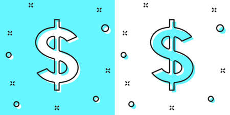 Black line Dollar symbol icon isolated on green and white background. Cash and money, wealth, payment symbol. Casino gambling. Random dynamic shapes. Vector  イラスト・ベクター素材