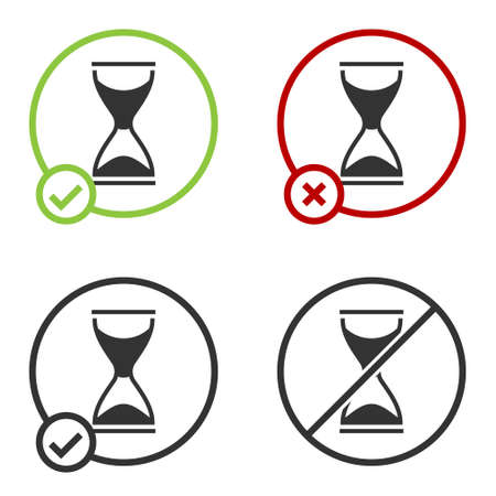 Black Old hourglass with flowing sand icon isolated on white background. Sand clock sign. Business and time management concept. Circle button. Vector 写真素材 - 159554053