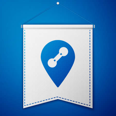 Blue Location gym icon isolated on blue background. White pennant template. Vector 写真素材 - 159554058