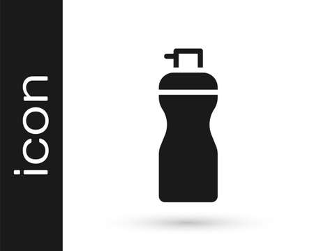 Black Fitness shaker icon isolated on white background. Sports shaker bottle with lid for water and protein cocktails. Vector