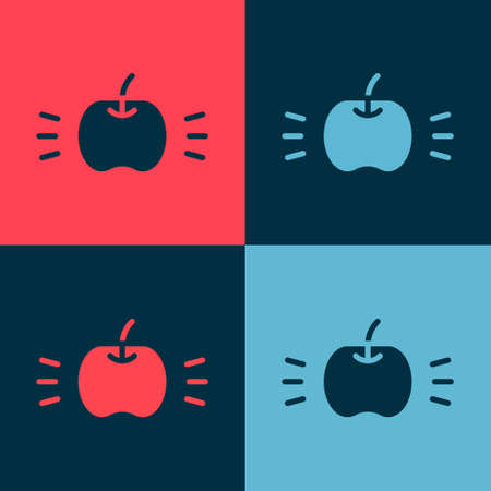 Pop art Apple icon isolated on color background. Fruit with leaf symbol. Vector  イラスト・ベクター素材