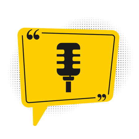 Black Microphone icon isolated on white background. On air radio mic microphone. Speaker sign. Yellow speech bubble symbol. Vector