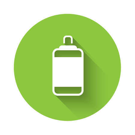 White Punching bag icon isolated with long shadow. Green circle button. Vector
