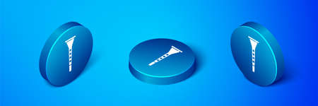 Isometric Clarinet icon isolated on blue background. Musical instrument. Blue circle button. Vector  イラスト・ベクター素材