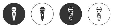 Black Microphone icon isolated on white background. On air radio mic microphone. Speaker sign. Circle button. Vector 写真素材 - 159554116