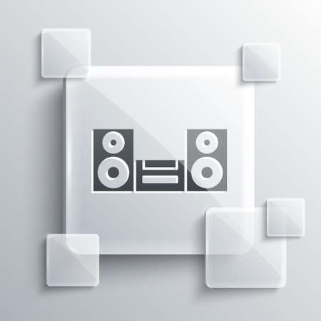 Grey Home stereo with two speaker icon isolated on grey background. Music system. Square glass panels. Vector  イラスト・ベクター素材