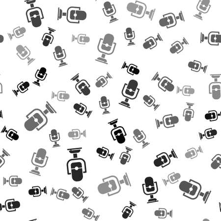 Black Microphone icon isolated seamless pattern on white background. On air radio mic microphone. Speaker sign. Vector 写真素材 - 159554123