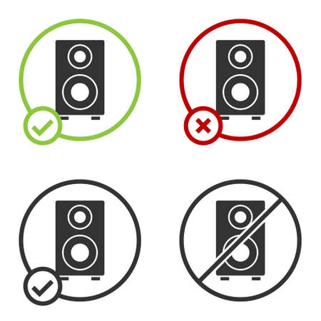 Black Stereo speaker icon isolated on white background. Sound system speakers. Music icon. Musical column speaker bass equipment. Circle button. Vector 写真素材 - 159554124