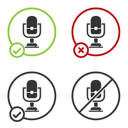Black Microphone icon isolated on white background. On air radio mic microphone. Speaker sign. Circle button. Vector 写真素材 - 159554125
